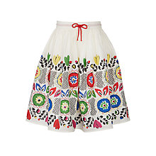 Buy John Lewis Girls' Festival Border Skirt, White Multi Online at johnlewis.com