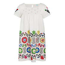 Buy John Lewis Girls' Festival Border Dress, White Online at johnlewis.com