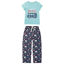 Buy Fat Face Girls' Van Dreams Pyjamas, Aqua/Navy Online at johnlewis.com