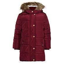 Buy John Lewis Girls' Long Padded Coat, Berry Online at johnlewis.com