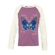 Buy Fat Face Girls' Butterfly Print T-Shirt, Heather Online at johnlewis.com