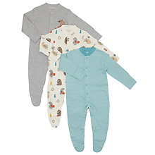Buy John Lewis Baby Bear Themed Sleepsuit, Pack of 3, Teal/Cream Online at johnlewis.com