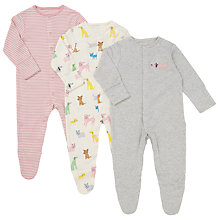 Buy John Lewis Baby Dogs Sleepsuits, Pack of 3, Pink/Grey Online at johnlewis.com