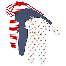 Buy John Lewis Baby Dog Print Sleepsuit, Pack of 3, Assorted Online at johnlewis.com