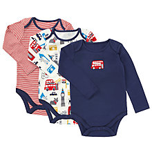Buy John Lewis Baby London Theme Bodysuit, Pack of 3, Navy/Red Online at johnlewis.com