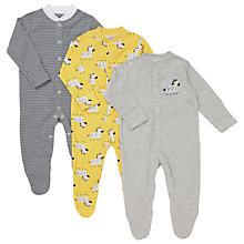 Buy John Lewis Baby Zebra Sleepsuits, Pack of 3, Grey/Yellow Online at johnlewis.com