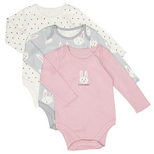 Buy John Lewis Baby Bunny Print Bodysuit, Pack of 3, Pink/Grey Online at johnlewis.com