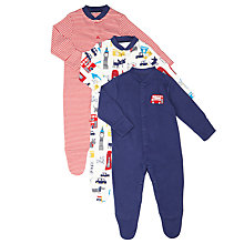 Buy John Lewis Baby London Theme Sleepsuits, Pack of 3, Blue/Red Online at johnlewis.com
