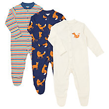 Buy John Lewis Fox Theme Sleepsuit, Pack of 3, Teal/Cream Online at johnlewis.com