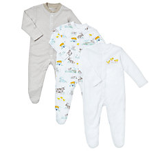 Buy John Lewis Baby Farmyard Sleepsuits, Pack of 3, White/Grey Online at johnlewis.com