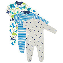 Buy John Lewis Baby Dinosaur Sleepsuits, Pack of 3, Blue/Grey Online at johnlewis.com