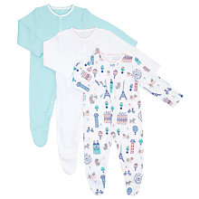 Buy John Lewis Baby Paris Theme Sleepsuits, Pack of 3, Pink/White Online at johnlewis.com