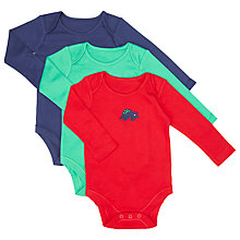Buy John Lewis Baby Dino Bodysuit, Pack of 3, Navy/Multi Online at johnlewis.com