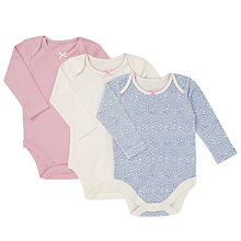 Buy John Lewis Baby Floral And Plain Bodysuits, Pack of 3, Pink/Blue Online at johnlewis.com