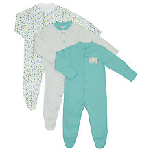 Buy John Lewis Baby Elephant Print Sleepsuit, Pack of 3, Multi Online at johnlewis.com
