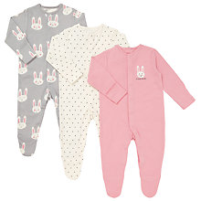 Buy John Lewis Baby Bunny Face Sleepsuits, Pack of 3, Pink/Grey Online at johnlewis.com