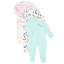 Buy John Lewis Baby Woodland Sleepsuit, Pack of 3, Cream/Aqua Online at johnlewis.com