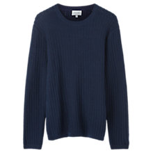 Buy Jigsaw Textured Rib Crew Jumper, Navy Online at johnlewis.com