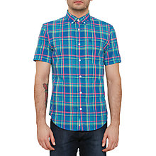 Buy Original Penguin Short Sleeve Checked Plaid Lawn Shirt, True Blue Online at johnlewis.com