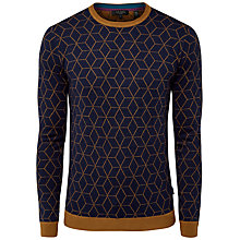 Buy Ted Baker Lochee Geo Cotton Cashmere Jumper, Navy Online at johnlewis.com