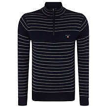 Buy Gant Cotton Wool Stripe Half Zip Sweater, Navy Online at johnlewis.com