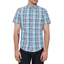 Buy Original Penguin Plaid Cotton Slub Shirtt, Deep Water Online at johnlewis.com