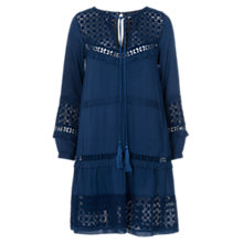 Buy French Connection Lola Lace Smock Dress, Indigo Online at johnlewis.com