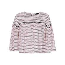 Buy French Connection Bacongo Dot Flute Sleeve Top Online at johnlewis.com