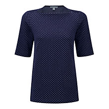 Buy Pure Collection Littlethorpe Check Slash Neck Top, Navy Spot Online at johnlewis.com