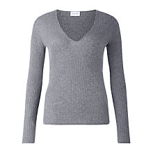 Buy Jigsaw Ribbed V Neck Jumper Online at johnlewis.com