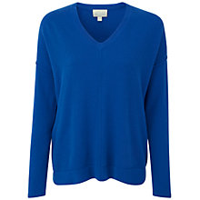 Buy Pure Collection Barrowby Cashmere Relaxed V Neck Sweater, Oxford Blue Online at johnlewis.com