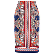 Buy Oasis Paisley Pencil Skirt, Multi/Blue Online at johnlewis.com