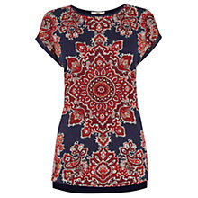Buy Oasis Paisley Print T-Shirt, Mid Blue Online at johnlewis.com