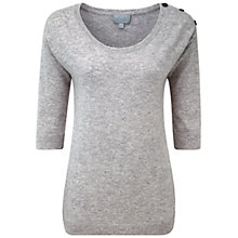 Buy Pure Collection Cashmere Button Shoulder Sweater, Heather Dove Online at johnlewis.com