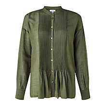 Buy Jigsaw Crinkle Silk Pintuck Blouse, Moss Online at johnlewis.com