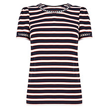 Buy Oasis Stripe Trim T-Shirt, Navy/Multi Online at johnlewis.com
