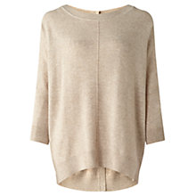 Buy Jigsaw Dropped Hem Button Jumper, Stone Online at johnlewis.com