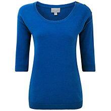 Buy Pure Collection Hamilton Cashmere Button Shoulder Sweater, Spring Sapphire Online at johnlewis.com