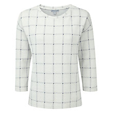 Buy Pure Collection Check Fontein Jersey Sweatshirt, Ecru/Navy Online at johnlewis.com