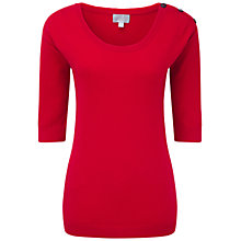 Buy Pure Collection Goodrick Cashmere Button Shoulder Sweater, Pillarbox Red Online at johnlewis.com