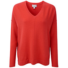 Buy Pure Collection Camwal Cashmere Relaxed V Neck Sweater, Poppy Red Online at johnlewis.com