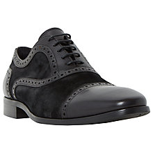 Buy Bertie Raef Mixed Leather Suede Punch Hole Oxford Shoes, Black Online at johnlewis.com