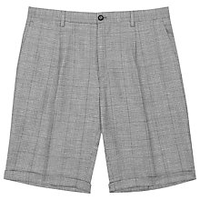 Buy Reiss Buckingham Wool Linen Check Shorts, Grey Online at johnlewis.com