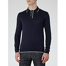 Buy Reiss Falmouth Tipped Long Sleeve Polo Shirt, Navy Online at johnlewis.com