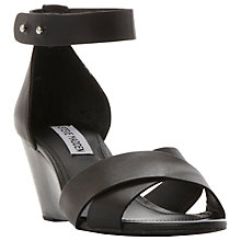 Buy Steve Madden Nilla Wedge Heeled Sandals, Black Leather Online at johnlewis.com