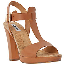 Buy Dune Ismin T-Bar Block Heeled Sandals, Tan Leather Online at johnlewis.com
