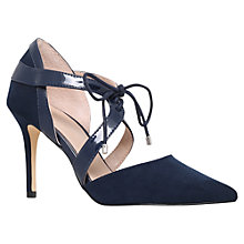 Buy Carvela Klamp Tie Pointed Toe Stiletto Court Shoes, Navy Suedette Online at johnlewis.com