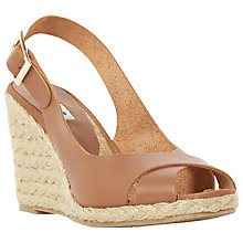 Buy Dune Kia High Wedge Heeled Sandals, Tan Leather Online at johnlewis.com