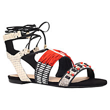 Buy Kurt Geiger Kiki Lace Up Sandals, Black/Red Online at johnlewis.com