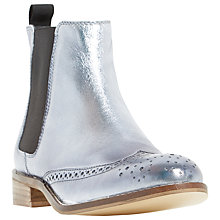 Buy Dune Quentin Block Heeled Ankle Boot, Pewter Leather Online at johnlewis.com